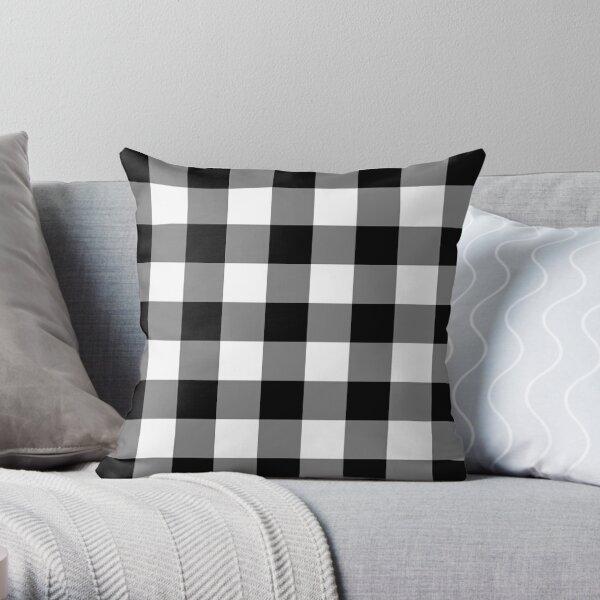 White and Black Buffalo Plaid Check Throw Pillow