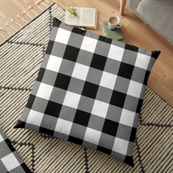 White and Black Buffalo Plaid Check Floor Pillow