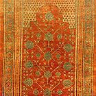Chinese Red Silk Rug 1872 by Vicky Brago-Mitchell