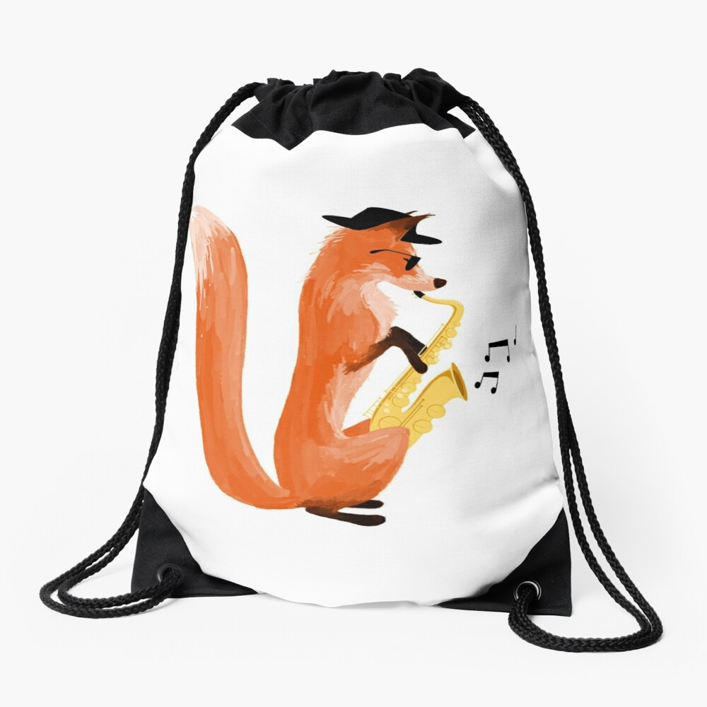 Jazzy Fox Drawstring Bag