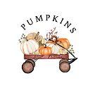 Fall Pumpkins in Wagon by Ann Drake