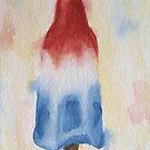 Rocket Popsicle Watercolor red white blue ice cream dessert by Pamela Burger