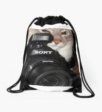 Camera Cat Drawstring Bag