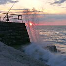Catching a Wave at Sunset by LumixFZ28