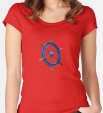 blue sailor wheel Women's Fitted Scoop T-Shirt