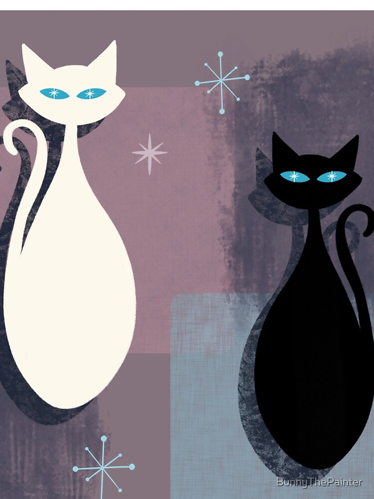 Jazzy Midcentury Modern Black And White Abstract Cats by BunnyThePainter