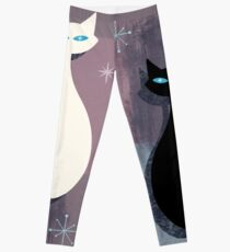 Jazzy Midcentury Modern Black And White Abstract Cats Leggings