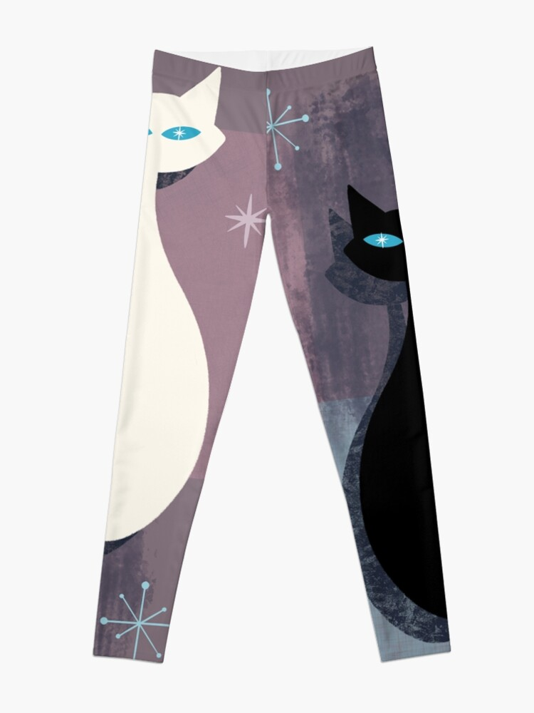 Alternate view of Jazzy Midcentury Modern Black And White Abstract Cats Leggings