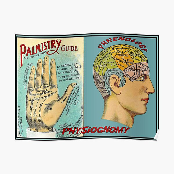 PALMISTRY PHRENOLOGY : Vintage Brain and Palm Reading Print Poster