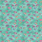 Elephants on Parade Watercolor Green by inkedinred