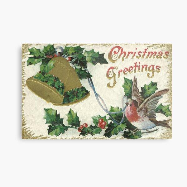 Vintage Christmas - Bell and Snowbird Metal Print