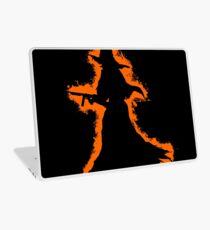 Evil halloween orange and black silhouette Laptop Skin