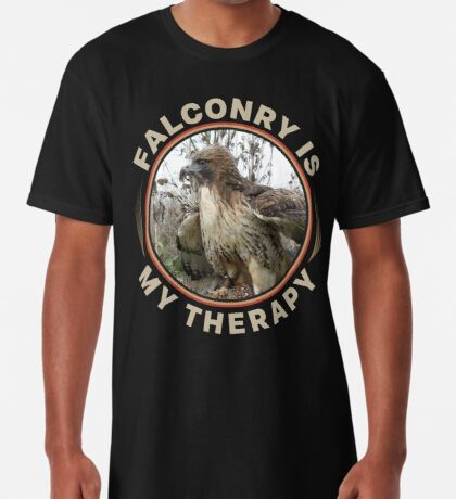 Therapy is Falconry With a Red-tailed Hawk Falconers Shirt and Gifts Long T-Shirt