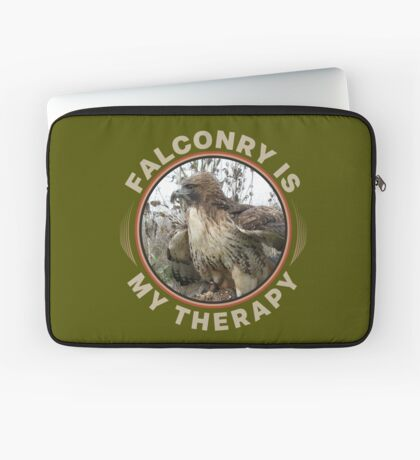 Therapy is Falconry With a Red-tailed Hawk Falconers Shirt and Gifts Laptop Sleeve