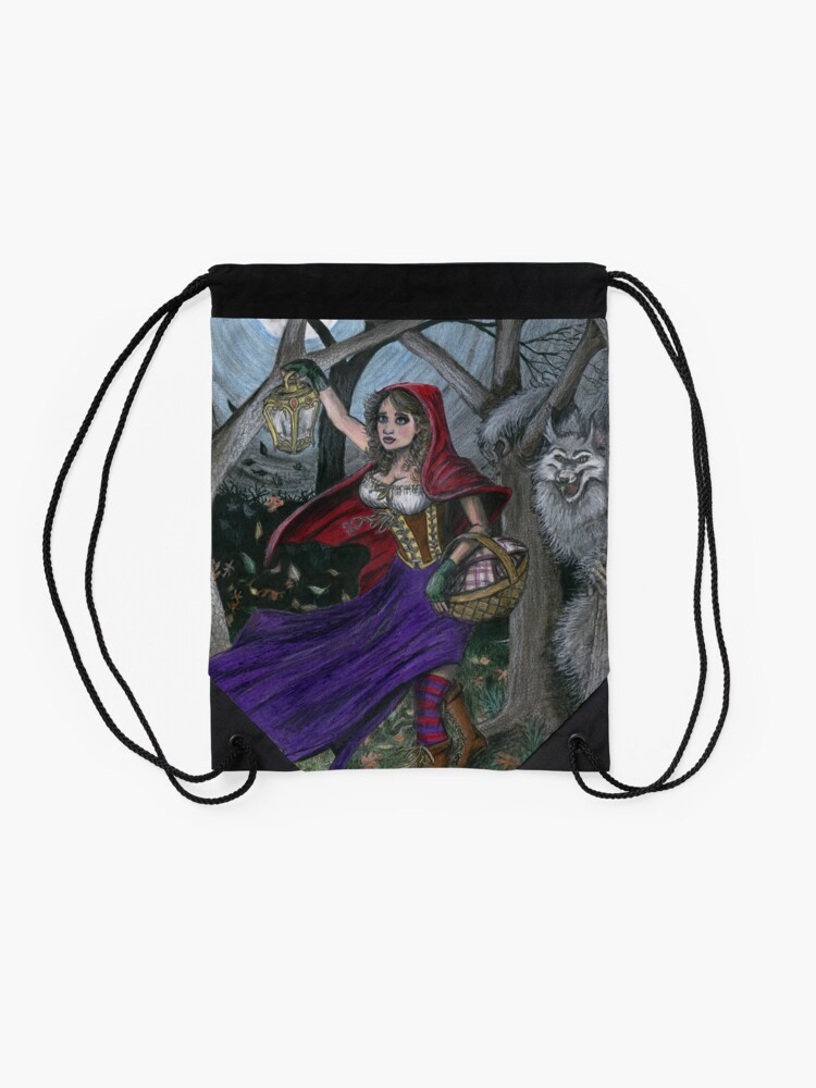 Alternate view of Little Red and the Big Bad Wolf Drawstring Bag