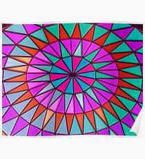 Bright and Colorful Stained Glass Window Mandala for Peace and Happiness Poster