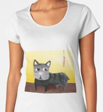 Black french bulldog and a sausage Women's Premium T-Shirt