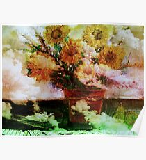 """"""" Here Comes The Sun """"   Surreal Sunflowers on Table      Poster"""