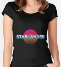 STARLANDER - Metallic Logo with sun Women's Fitted Scoop T-Shirt