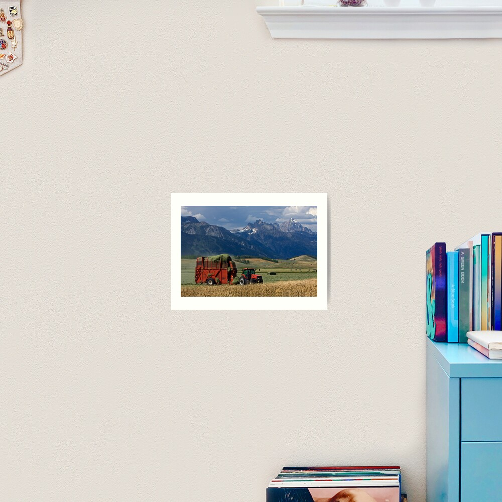 Making Hay, Shadow of the Tetons, Walton Ranch Art Print