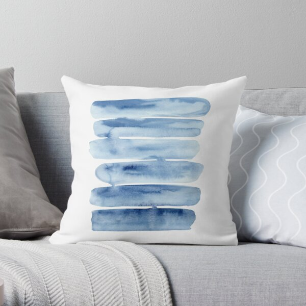 Watercolor Stripes Painting Throw Pillow