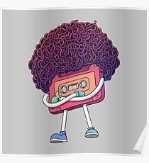 Pink Compact Cassette Tape Character. Mixtape Illustration. Super Afro Haircut Style. Thumbs Up Gesture. Pop Music 80s, 90s Poster