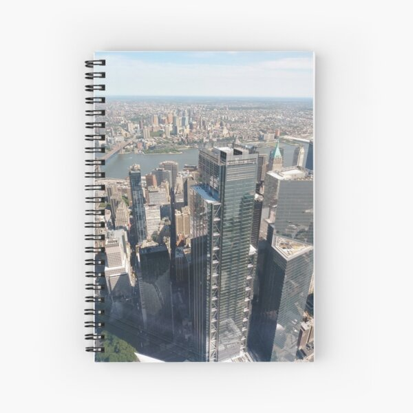 #Manhattan, #NewYorkCity, #downtown, #NewYork, skyscrapers, river, Hudson, bridges, streets Spiral Notebook