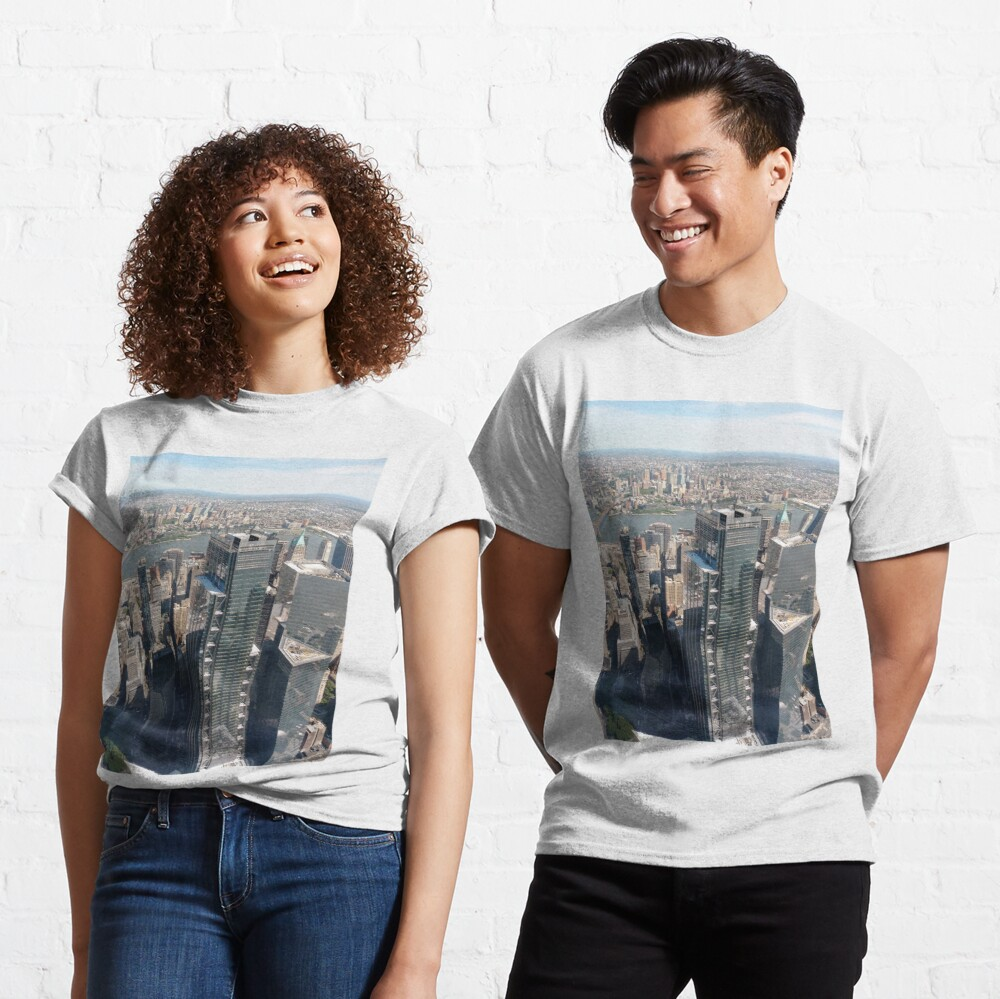 #Manhattan, #NewYorkCity, #downtown, #NewYork, skyscrapers, river, Hudson, bridges, streets: Classic T-Shirt