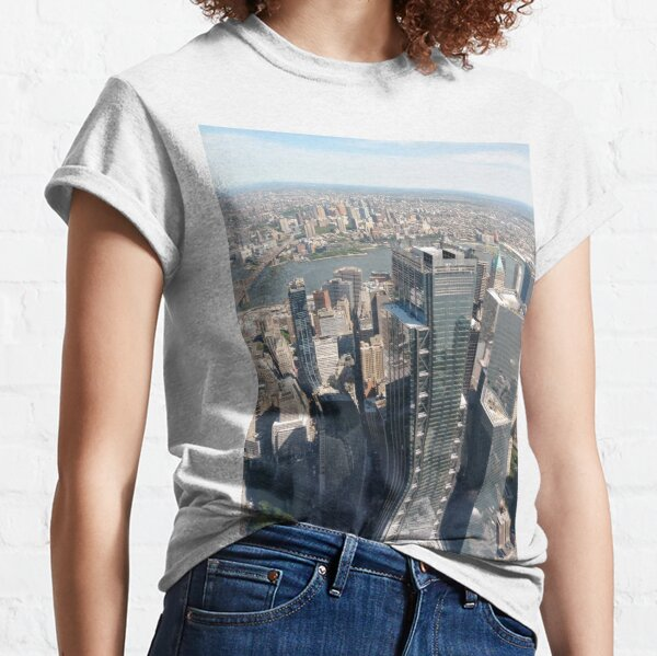 #Manhattan, #NewYorkCity, #downtown, #NewYork, skyscrapers, river, Hudson, bridges, streets Classic T-Shirt