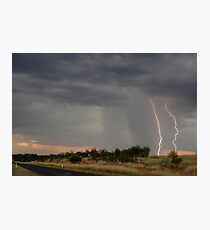 The Road to Bonshaw Lightning Photographic Print