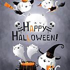 Happy Halloween cute cat witches and ghosts by colonelle