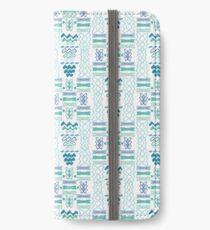 Blue Wave Pattern Line Shapes iPhone Wallet/Case/Skin