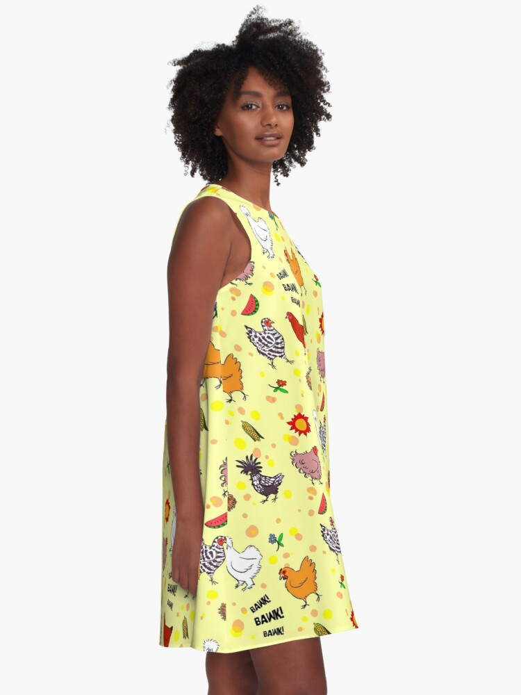 Alternate view of Cute seamless chickens pattern cartoon A-Line Dress