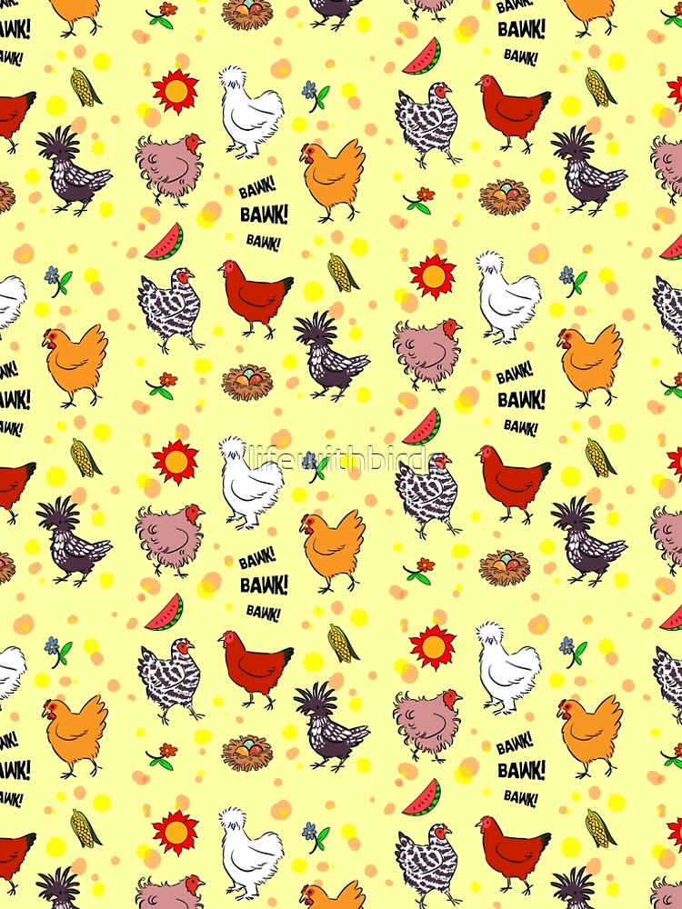 Cute seamless chickens pattern cartoon by lifewithbirds