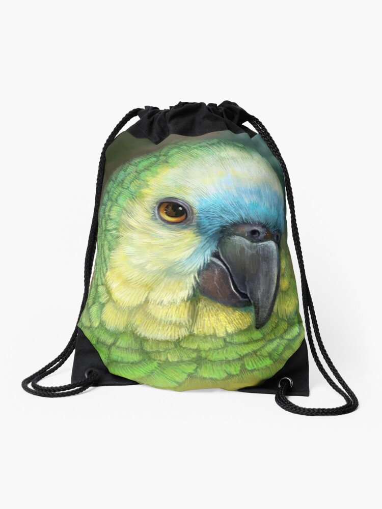 Blue Fronted Amazon Parrot Realistic Painting Drawstring Bag By