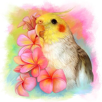 Cockatiel with frangipani by lifewithbirds