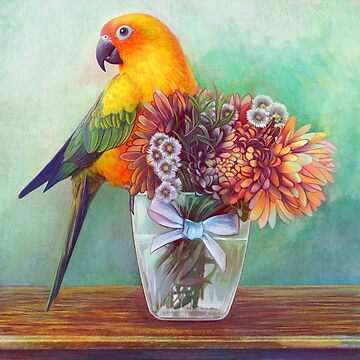 Sun conure and flowers by lifewithbirds