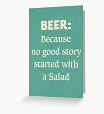 Beer illustration quote, vintage Pub sign, club, nightclub, restaurant, fine art, mancave, food, drink typography Greeting Card