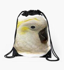 Sulfur Crested Cockatoo realistic painting Drawstring Bag