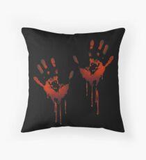 Bloody Hands on Me Halloween T shirt, horror, bloodprint, creepy halloween Throw Pillow