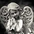 Angel statue print, praying angel, angel print, black and white, fine art photography by Brandy Watkins