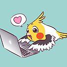 Nerdy cockatiel cute drawing Macbook bird parrot by lifewithbirds