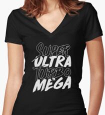 Super Ultra Turbo Mega Women's Fitted V-Neck T-Shirt