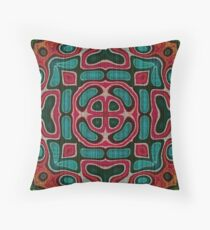 Teal Turquoise Blue Green Orange Red Hip Orient Bali Art Throw Pillow