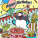Black masked lovebird happy birthday parrot by lifewithbirds