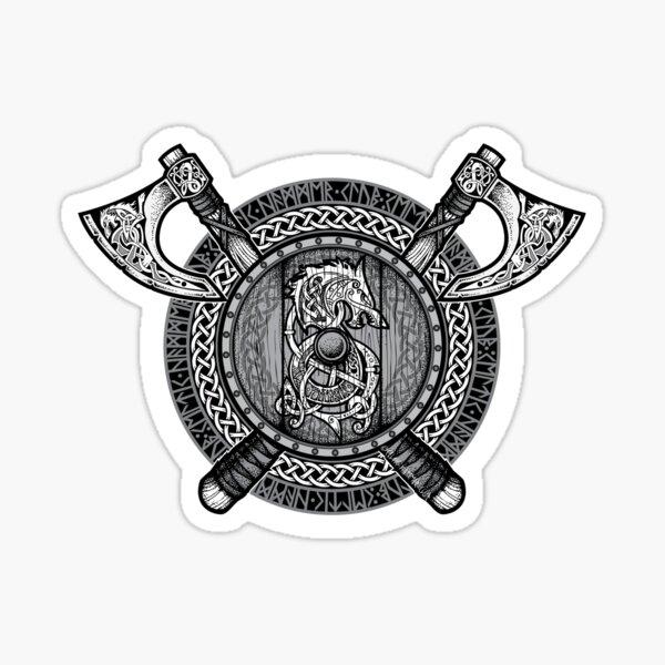 Fenrir Viking Shield (escala de grises) Pegatina