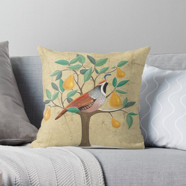 Festive Partridge in a pear tree Throw Pillow