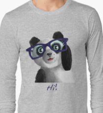 Cute funny panda saying Hi a birthday t-shirt gift Long Sleeve T-Shirt
