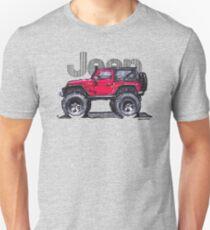 JK Wrangler Lifted 2dr - Red Unisex T-Shirt