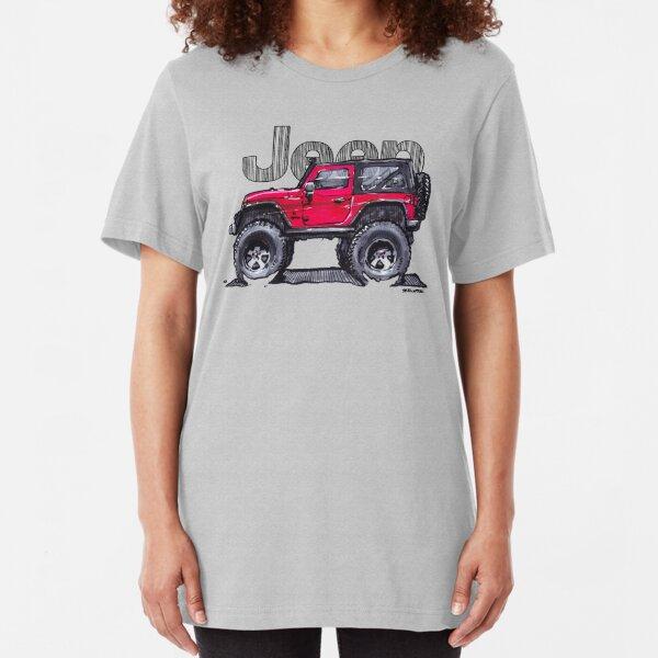 JK Wrangler Lifted 2dr - Red Slim Fit T-Shirt